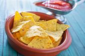 image of chipotle  - corn chips in a bowl and sauce - JPG