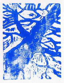 stock photo of linoleum  - Tree print original made in linoleum print technique in blue - JPG