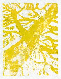 foto of linoleum  - Tree print original made in linoleum print technique in yellow - JPG
