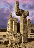 stock photo of mayan  - Mayan temple pyramid sculpture in the city of Chichen Itza - JPG