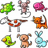 image of petting  - Set of sketchy cartoon pets - JPG