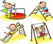 image of playground  - Happy cartoon kids on playground - JPG