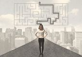 image of solution  - Business woman looking at road with maze and solution concept - JPG
