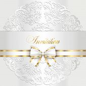 picture of lace  - Exclusive white wedding invitation with rounded lace - JPG