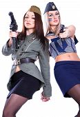 pic of cap gun  - Two women in the military uniform with a guns isolated over white background - JPG