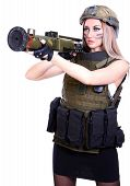 picture of grenades  - Woman in a military camouflage with a grenade launcher isolated over white background - JPG