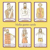 image of mafia  - Sketch Mafia cards in vintage style vector - JPG