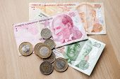pic of turkish lira  - Different banknotes and coins - JPG