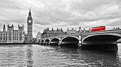 image of westminster bridge  - Red bus on Westminster Bridge by the Houses of Parliament - JPG