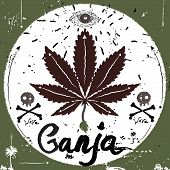 image of ganja  - Vintage Label, marijuana style. 
