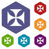 picture of crusader  - Crusaders rhombus icons set in different colors - JPG