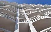 pic of atlantic ocean beach  - Hotel in Florida Architecture showing a beach hotel with balconies in tropical surrounding with the beach - JPG