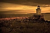 image of water bug  - Bug Light Lighthouse on top of a rocky island with warm filter - JPG