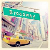stock photo of broadway  - Colorful Broadway sign over Times Square background with Instagram effect filter - JPG