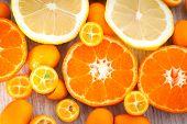 picture of kumquat  - Fresh tangerine kumquat and lemon on table - JPG