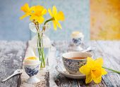 pic of breakfast  - Breakfast table setting with tea - JPG