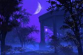 picture of glow-worm  - Digital render of a Roman or Greek temple in a fantasy moonlight scene - JPG