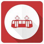 image of tram  - tram red flat icon public transport sign  - JPG