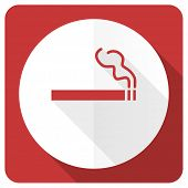 image of marijuana cigarette  - cigarette red flat icon nicotine sign  - JPG