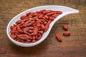 picture of teardrop  - dried goji berries in a teardrop shaped bowl against rustic wood - JPG
