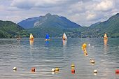 foto of annecy  - sailing dinghies on Lake Annecy in France - JPG