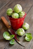 picture of ares  - Brussels sprouts in ared bucket with knife on an old wooden table - JPG