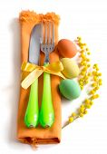 picture of mimosa  - Easter table setting with yellow mimosa and eggs - JPG
