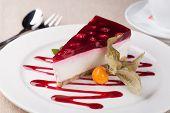 stock photo of cheesecake  - cheesecake on a white plate - JPG