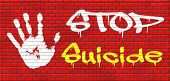 pic of suicide  - suicide prevention campaign to help suicidal people graffiti on red brick wall - JPG