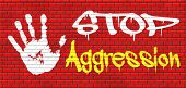 stock photo of stop fighting  - stop aggression and violence bring peace and stop the fighting and hostility graffiti on red brick wall - JPG