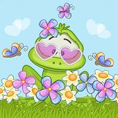 stock photo of orange frog  - Cute cartoon frog on the meadow with flowers - JPG