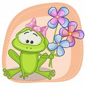 stock photo of orange frog  - Greeting card frog with flowers on orange - JPG