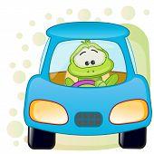 image of cute frog  - Cute Frog is sitting in a car - JPG