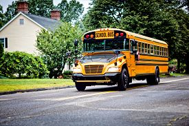 picture of driving school  - Yellow school bus driving along street - JPG
