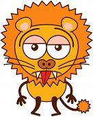 Cute lion sticking its tongue out and feeling apathetic poster
