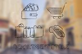 picture of department store  - wallet with money cart bags and payment terminal - JPG