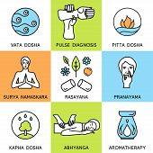 picture of pranayama  - Set linear icons for ayurveda design - JPG