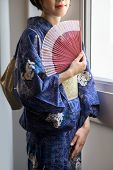 image of geisha  - Cropped image of Japanese geisha with a fan - JPG