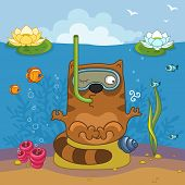 foto of sand lilies  - Cat under the water doing yoga and breathing through a tube - JPG