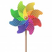 stock photo of color wheel  - summer toy pin wheel with eight different colors - JPG