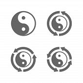 stock photo of ying yang  - Ying yang eternal moving energy icon - JPG