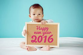 picture of new years baby  - Baby writing  - JPG