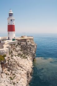 stock photo of gibraltar  - Europa Point Light house of Gibraltar  - JPG