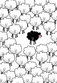 ...black sheep in the middle. Vector art