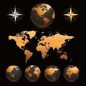stock photo of compass rose  - Earth globes with detailed world map - JPG