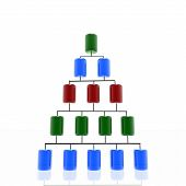 stock photo of cylinder pyramid  - Data cylinder arranged in a pyramid representing a hierarchical database which can be used to represent the concept of database or data analysis - JPG