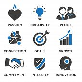 Company Core Values Solid Icons For Websites Or Infographics poster