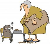 picture of bag-of-dog-food  - This illustration depicts an old woman feeding a dog that is seated at a table - JPG
