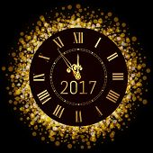 Vector 2017 Shiny Merry Christmas And Happy New Year 2017 Gold Clock With Glitter Frame. Vintage Ele poster