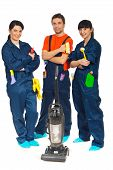 picture of cleaning service  - Team of workers people in a row offering cleaning service isolated on white background - JPG